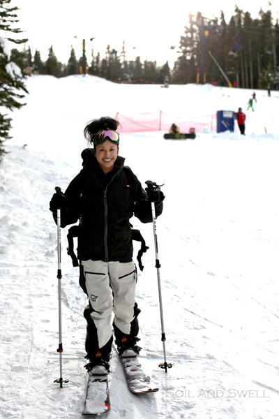 Descending on the edge of the ski resort.